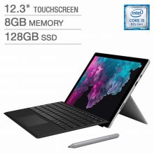 "Microsoft Surface Pro 6 (i5-8250U/8GB/128GB SSD) Win 10, 12.3"" (2736x1824) (Platinum) with Type Cover Keyboard (Black) + Pen (Platinum)"