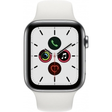 Apple Watch Series 5 (GPS + Cellular) 44mm Stainless Steel Case with White Sport Band