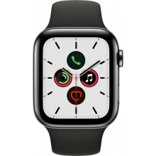 Apple Watch Series 5 (GPS + Cellular) 44mm Space Black Stainless Steel Case with Black Sport Band