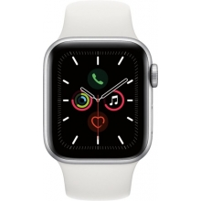 Apple Watch Series 5 (GPS + Cellular) 40mm Silver Aluminum Case with White Sport Band