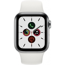 Apple Watch Series 5 (GPS + Cellular) 40mm Stainless Steel Case with White Sport Band
