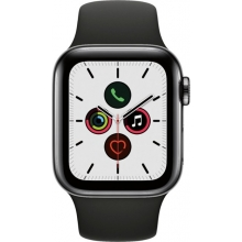 Apple Watch Series 5 (GPS + Cellular) 40mm Space Black Stainless Steel Case with Black Sport Band