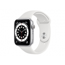 Apple Watch Series 6 44mm (GPS) silver aluminium case with White sport band