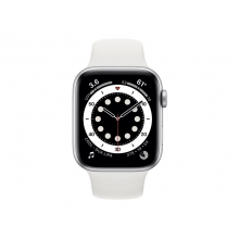 Apple Watch Series 6 44mm (GPS + Cellular) silver aluminium case with white sport band