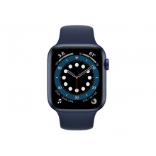 Apple Watch Series 6 (GPS + Cellular) blue case with deep navy sport band