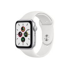 Apple Watch SE 44mm GPS silver aluminium case with white sport band